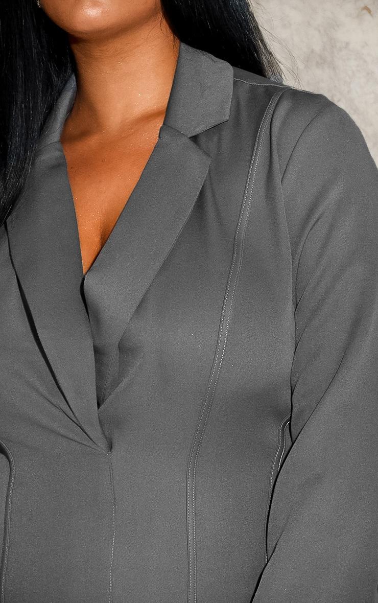 Plus Grey Fitted Seam Blazer Dress 6