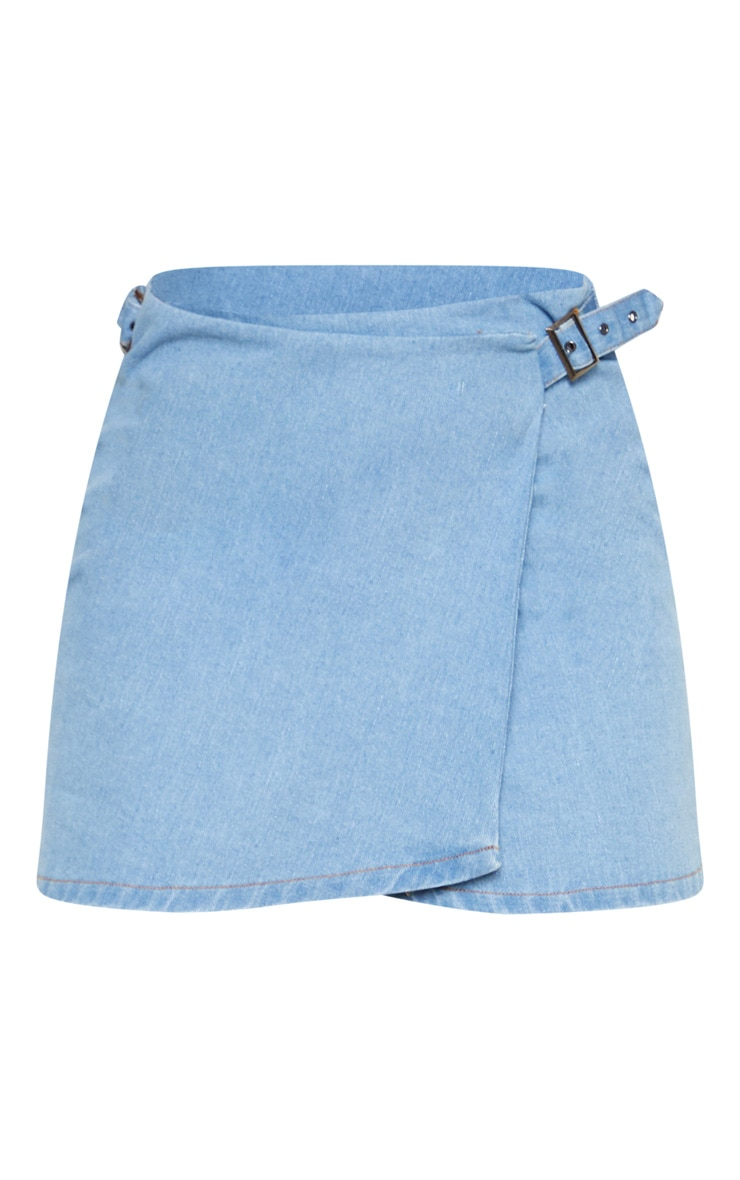 Light Wash Wrap Detail Side Buckle Denim Skirt 3