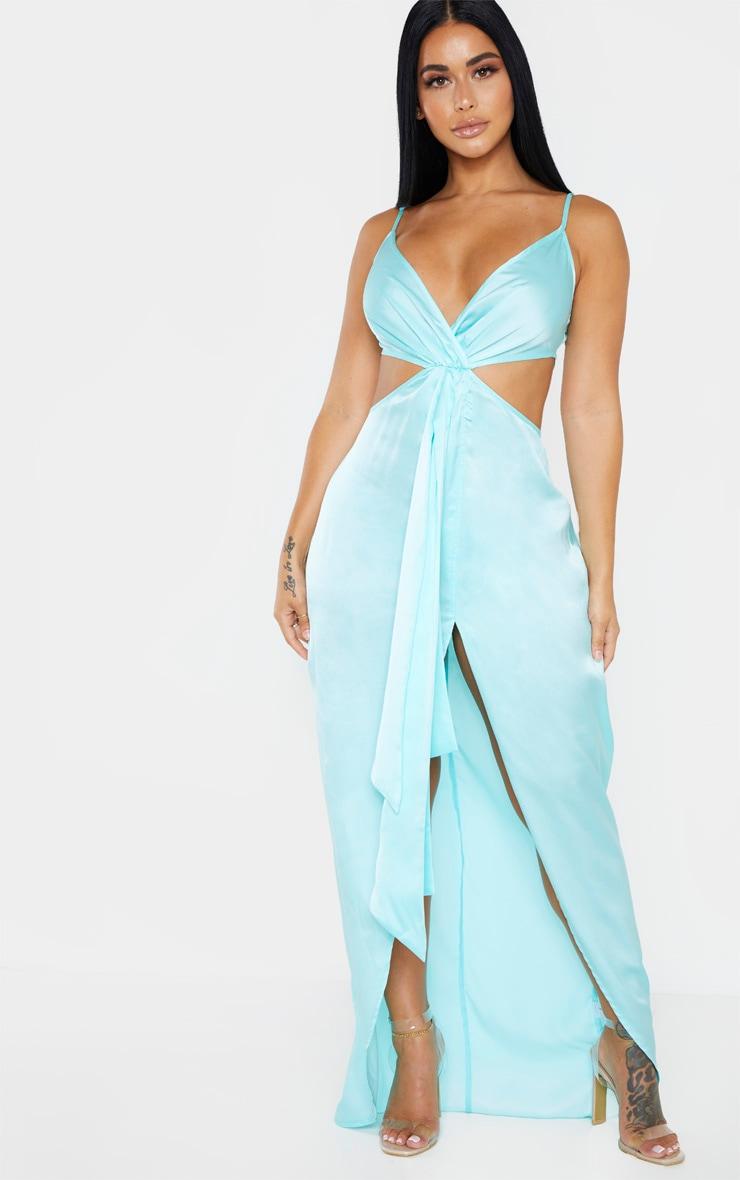 taille 40 ac5ee f9bff Shape - Robe longue bleu ciel drapée à découpes