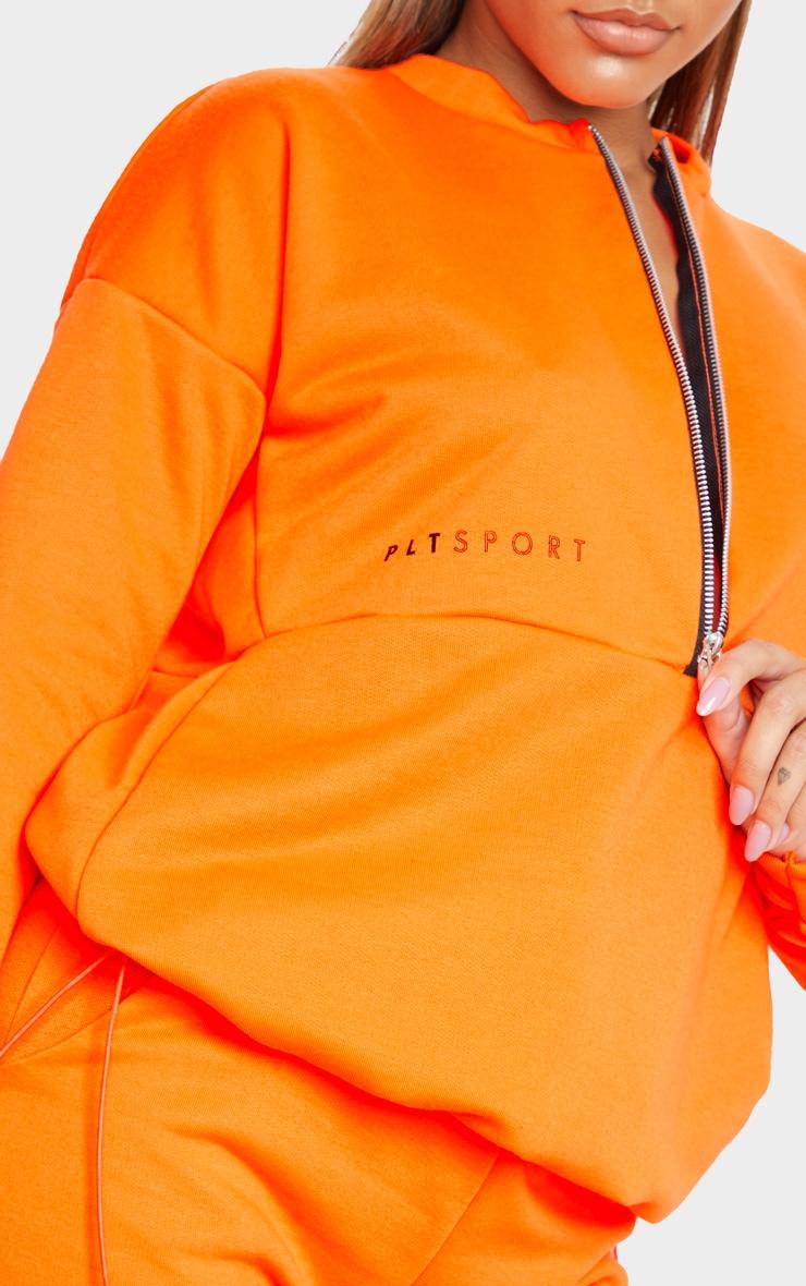 PRETTYLITTLETHING Orange Oversized Zip Up Sweatshirt 5