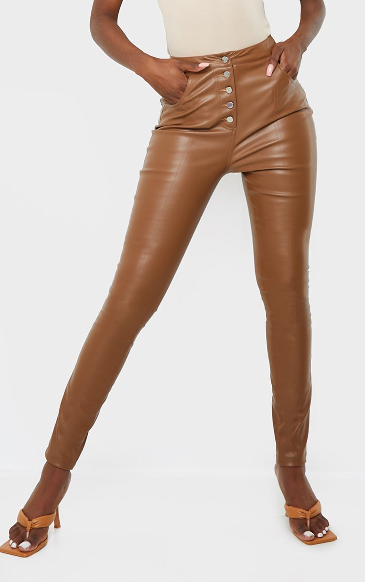 Tall Brown PU Button Detail Trousers 2