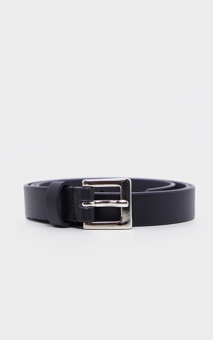 Black Square Buckle Skinny Waist Belt 2