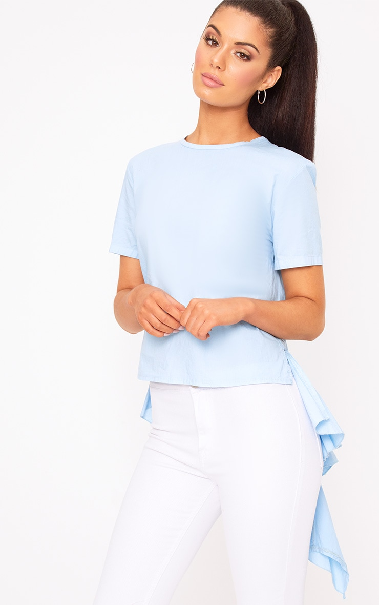 Sky Blue Drop Back Crew Neck Shirt 1