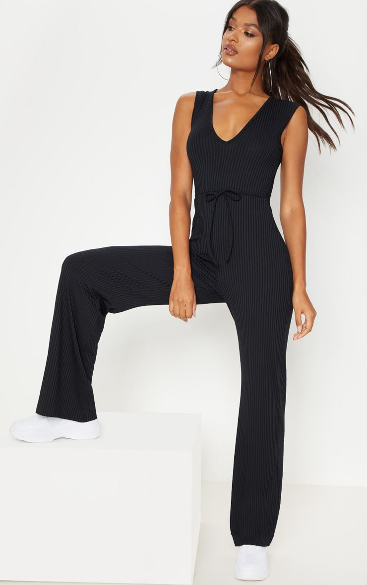 Black Ribbed Tie Waist Wide Leg Jumpsuit 1