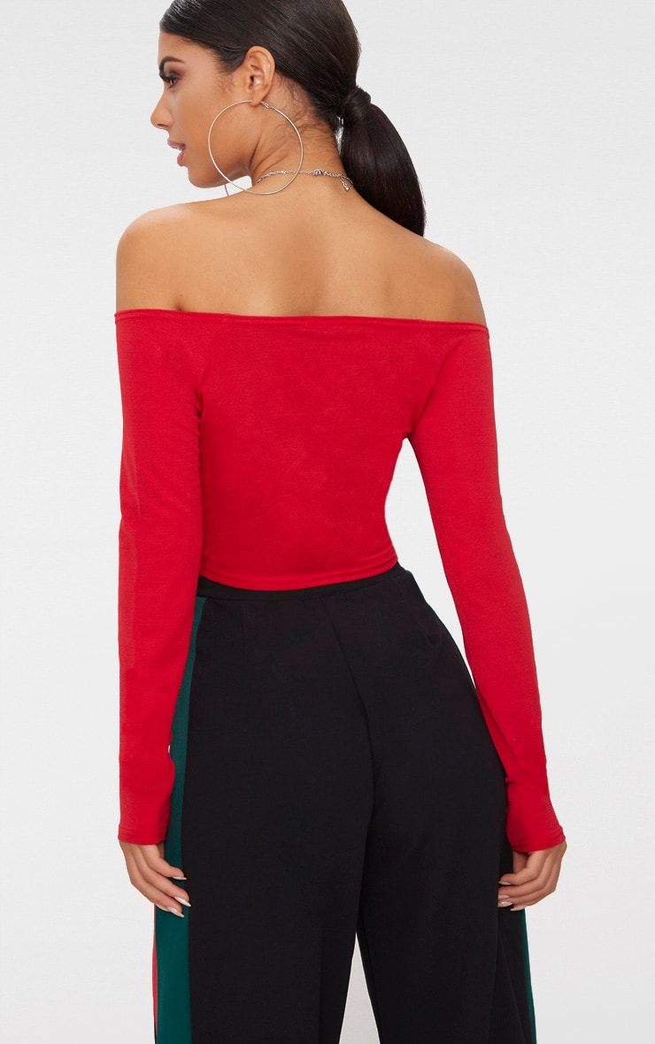 Red Slinky Ruched Front Long Sleeve Crop Top 2