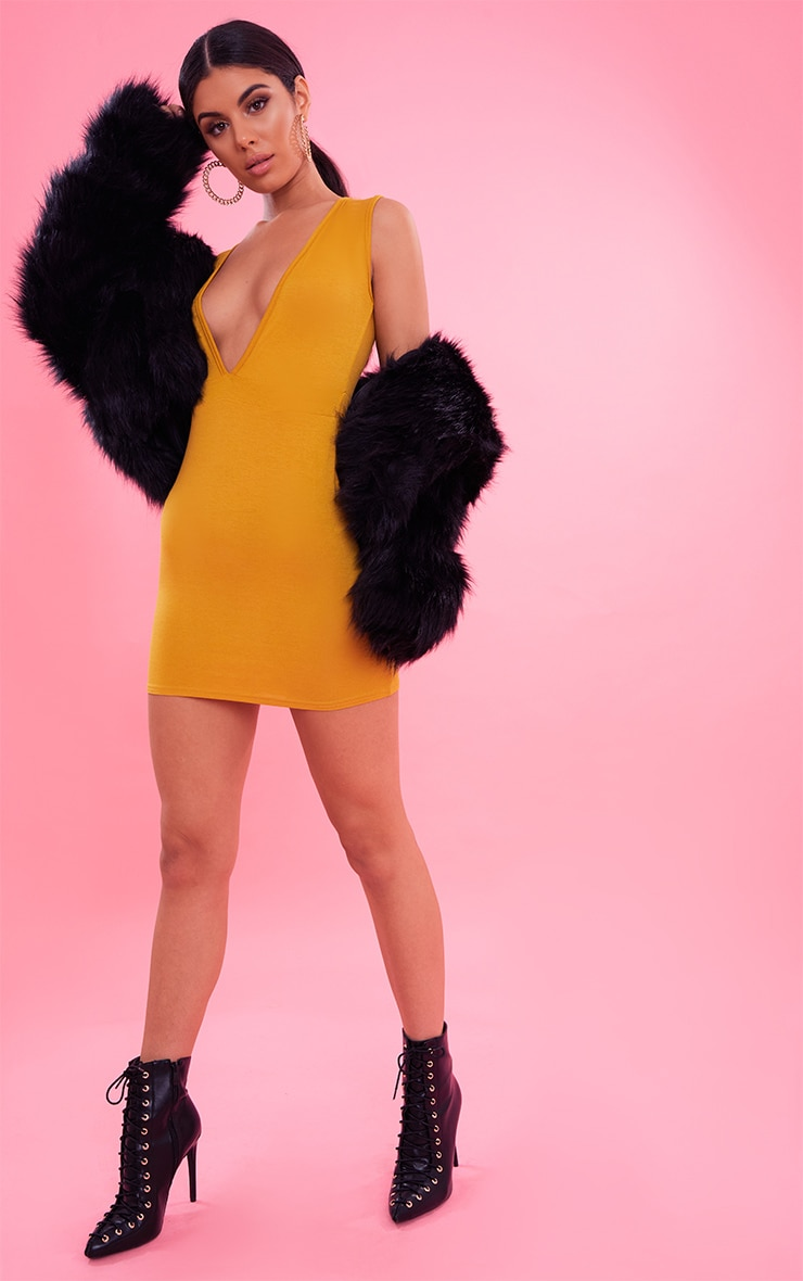 Mustard Extreme Plunge Bodycon Dress 5