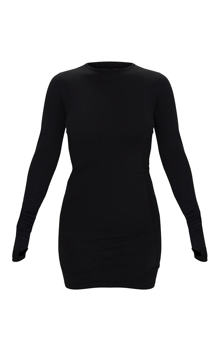 Basic Black Cotton Blend Long Sleeve Thumb Hole Bodycon Dress 6