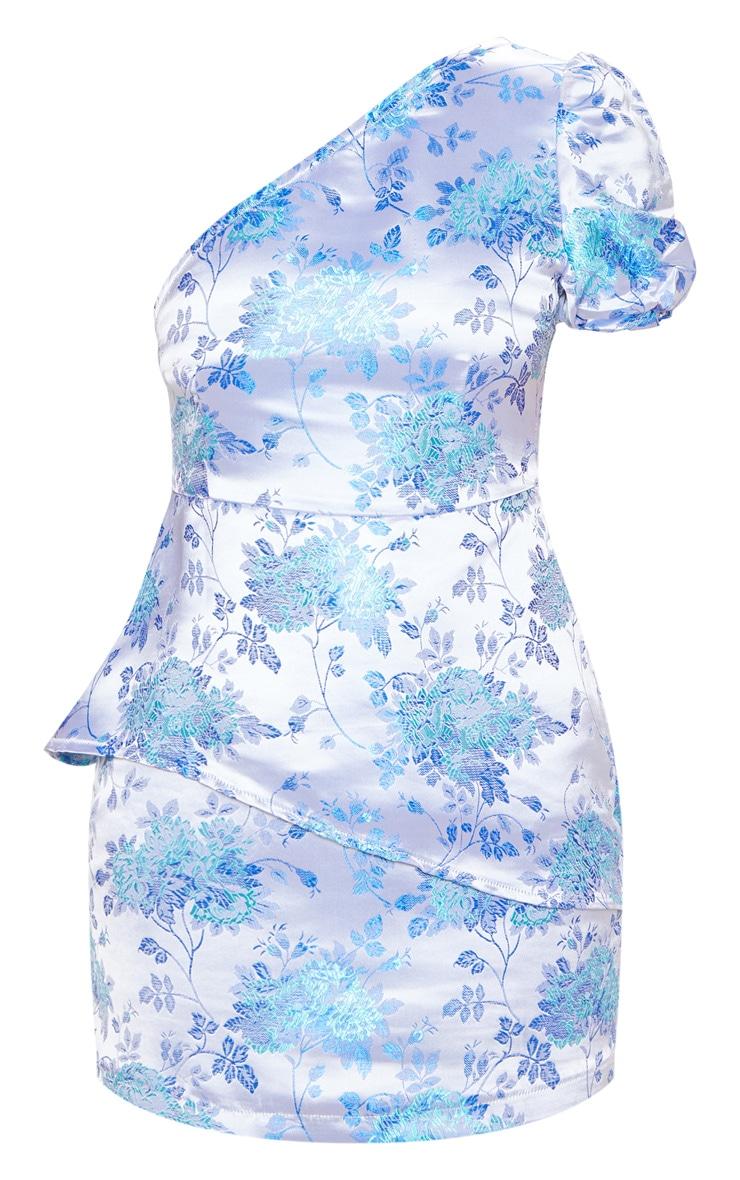 Petite Blue Jacquard One Shoulder Bodycon Dress 3