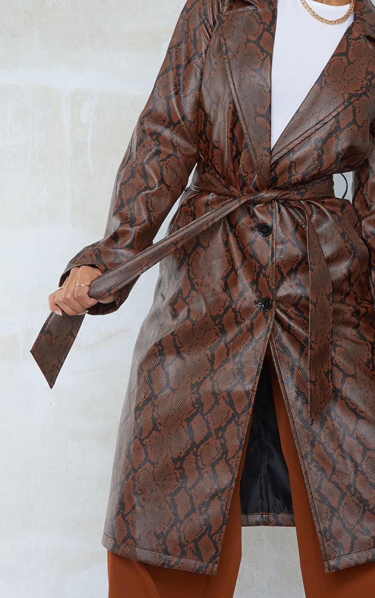 Chocolate Snake PU Belted Trench Coat 4