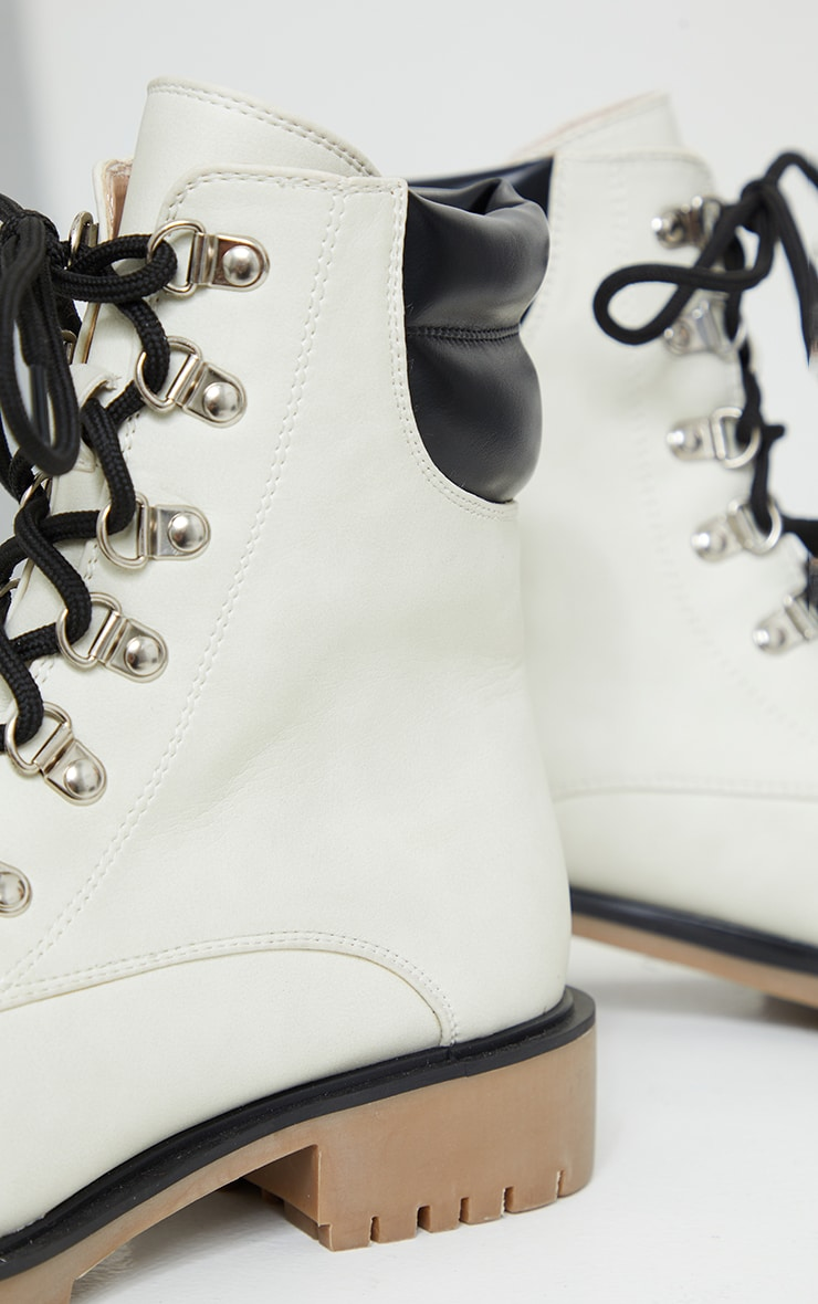 White Suede Contrast Pu Back Eyelet Lace Up Boots 4
