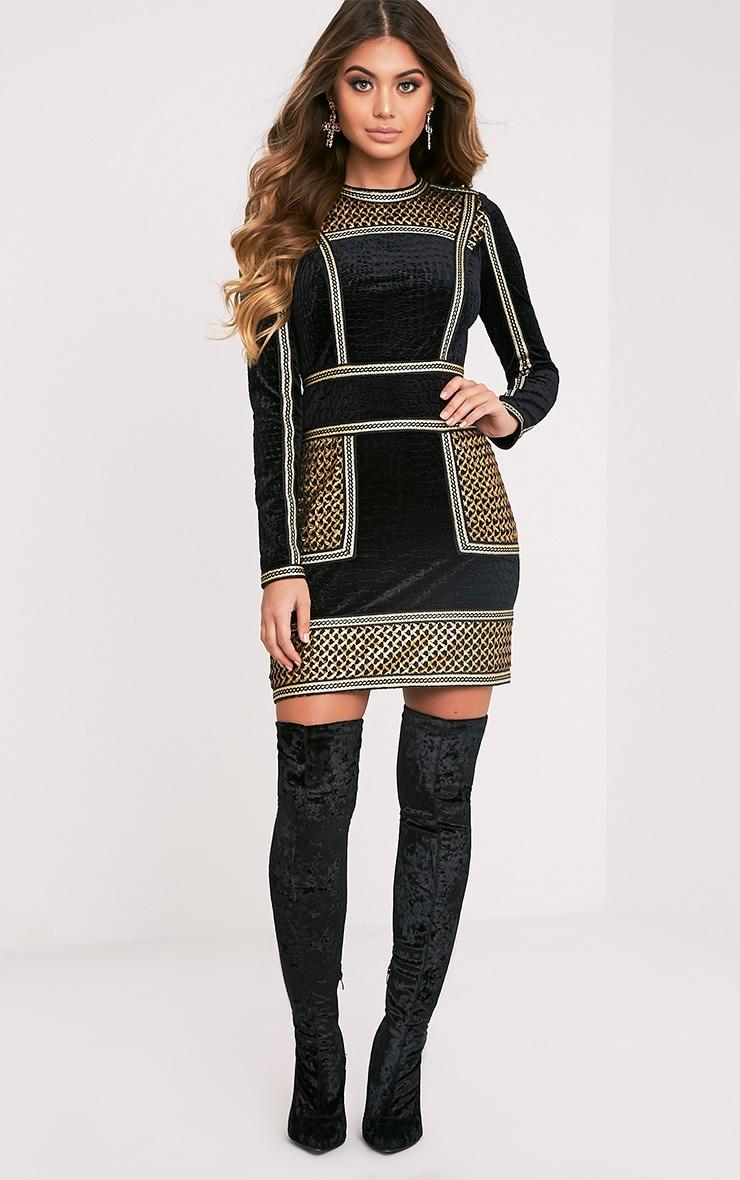 Asha Black Premium Velvet Panel Detail Bodycon Dress 6