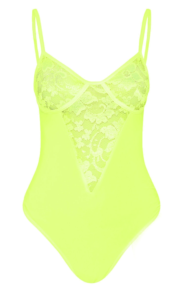 Petite Neon Lime Strappy Lace Bodysuit 3