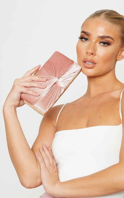 Blush Velvet Knotted Front Box Clutch