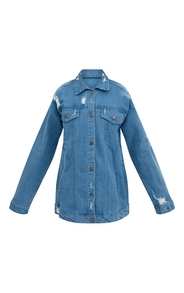 Mid Wash Frill Detail Denim Jacket  3