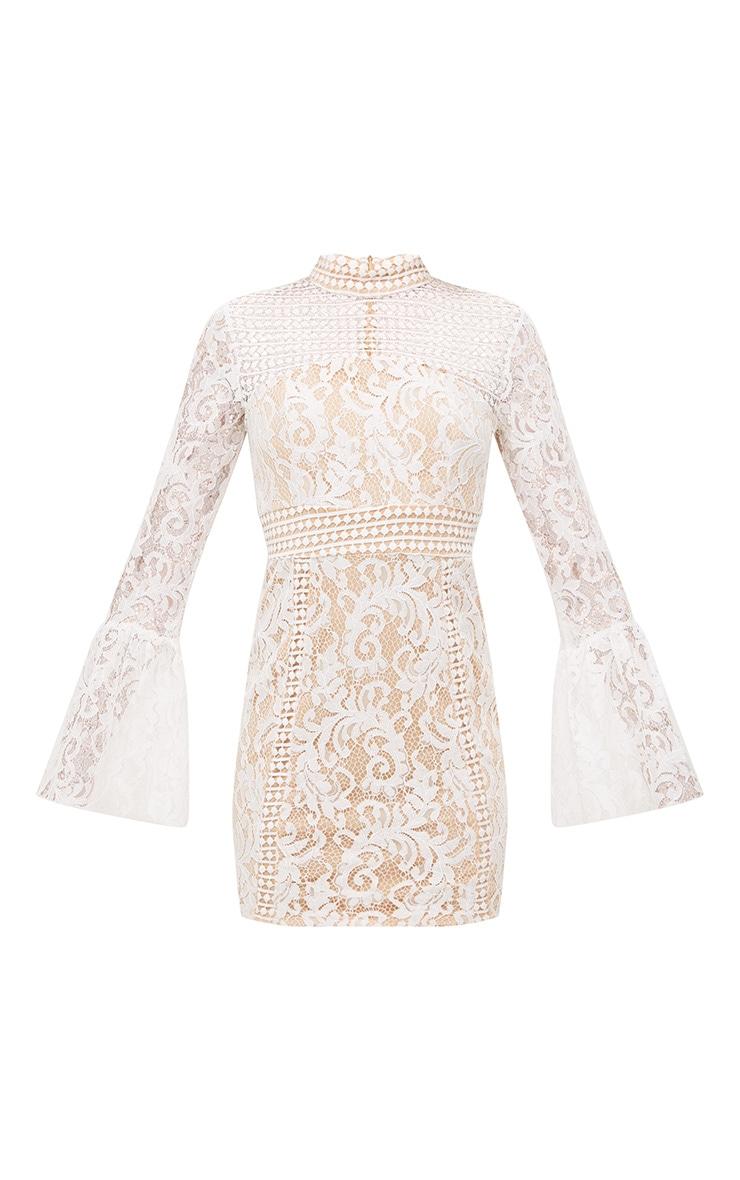 White Crochet Lace Flared Cuff  Bodycon Dress 3