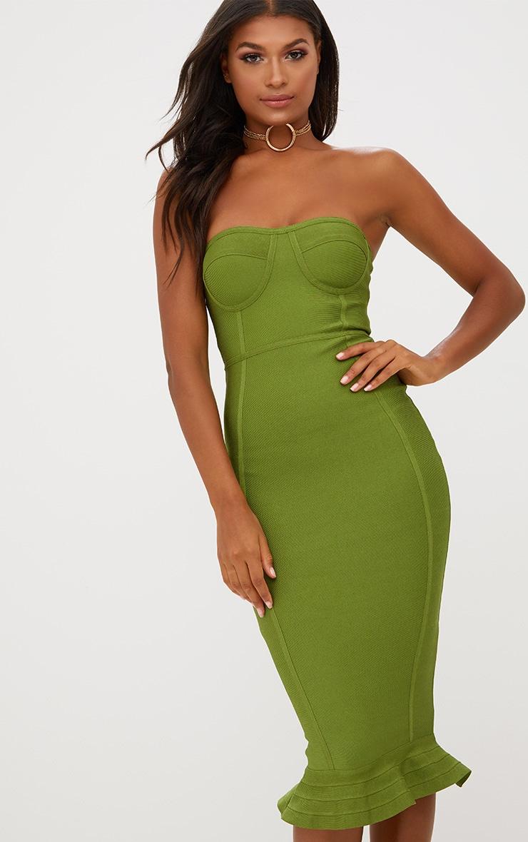 Olive Bandage Frill Hem Midi Dress 1