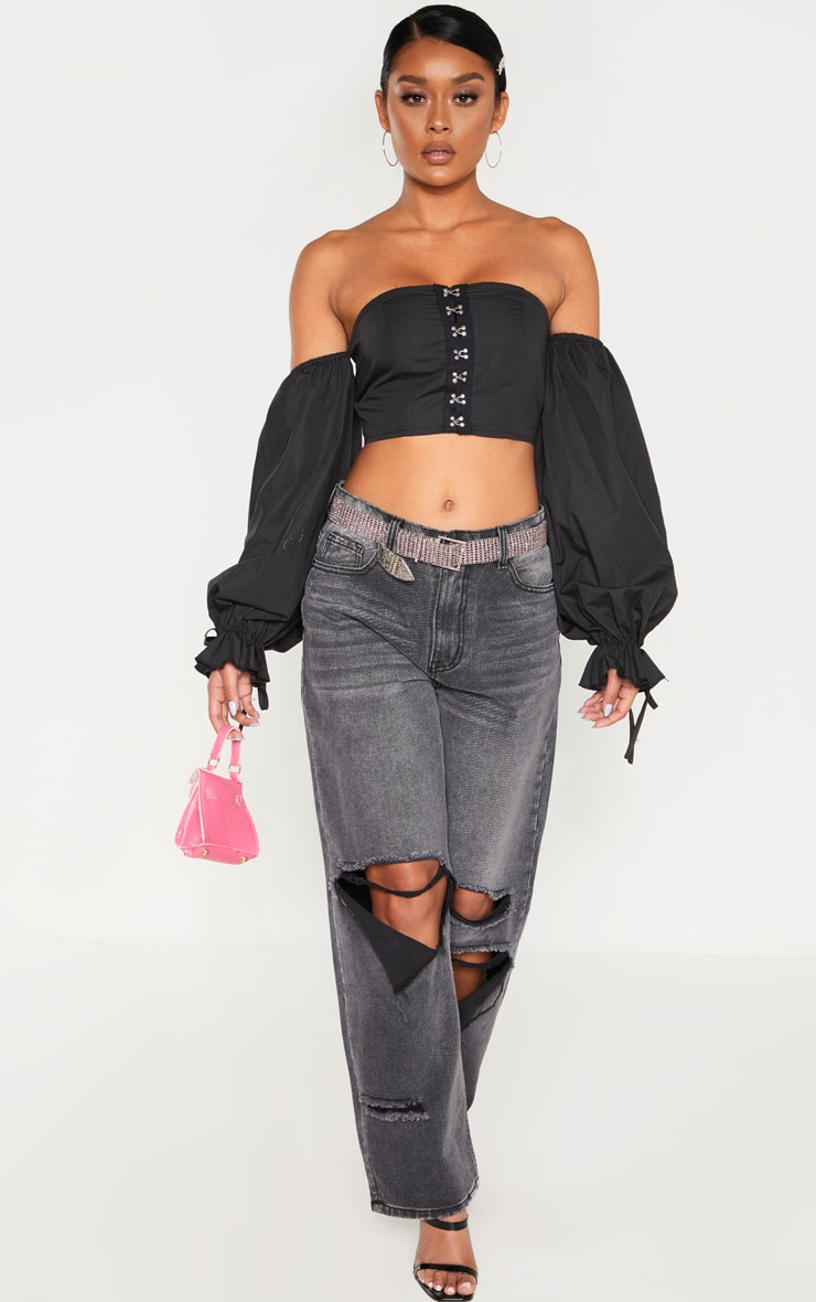 Black Bardot Woven Hook And Eye Long Sleeve Crop Top 4