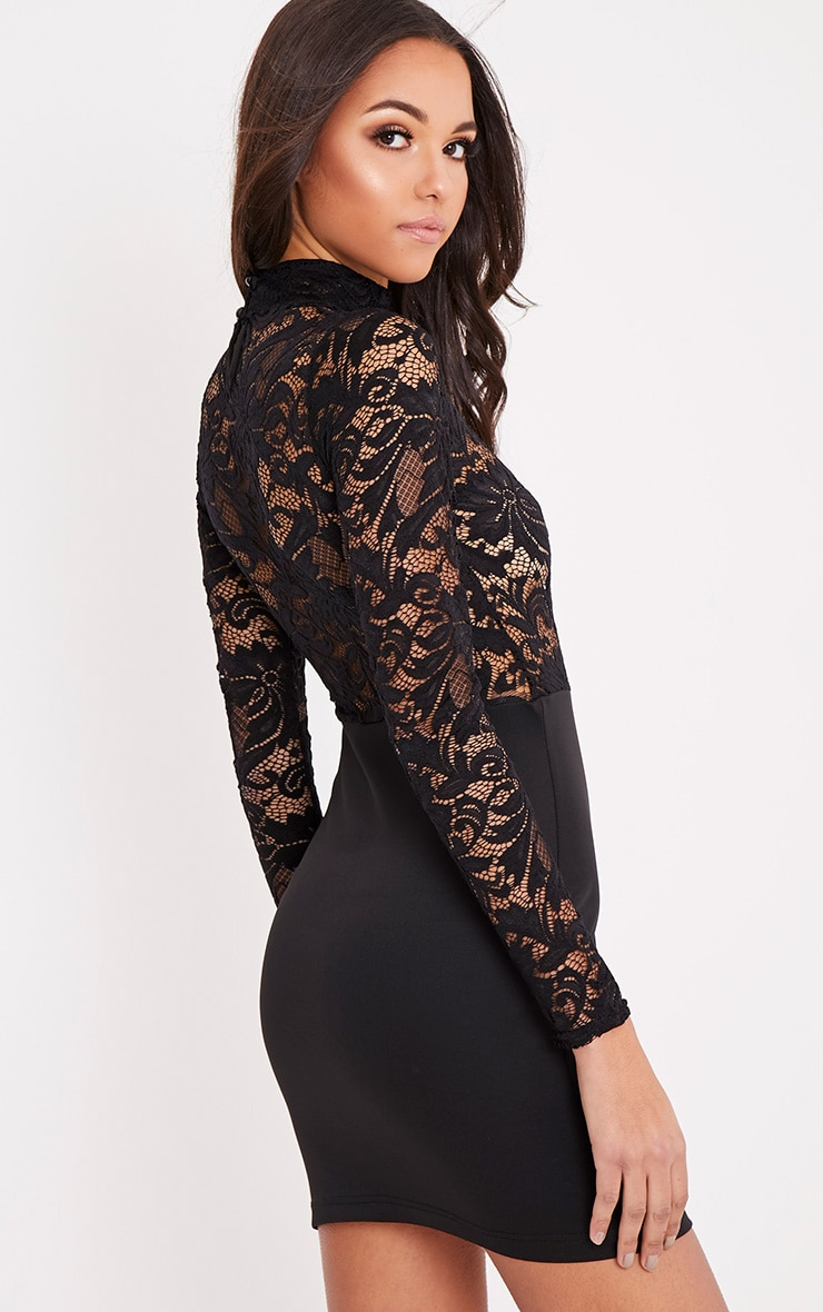 Izzie Black Sheer Lace Top Bodycon Dress 4