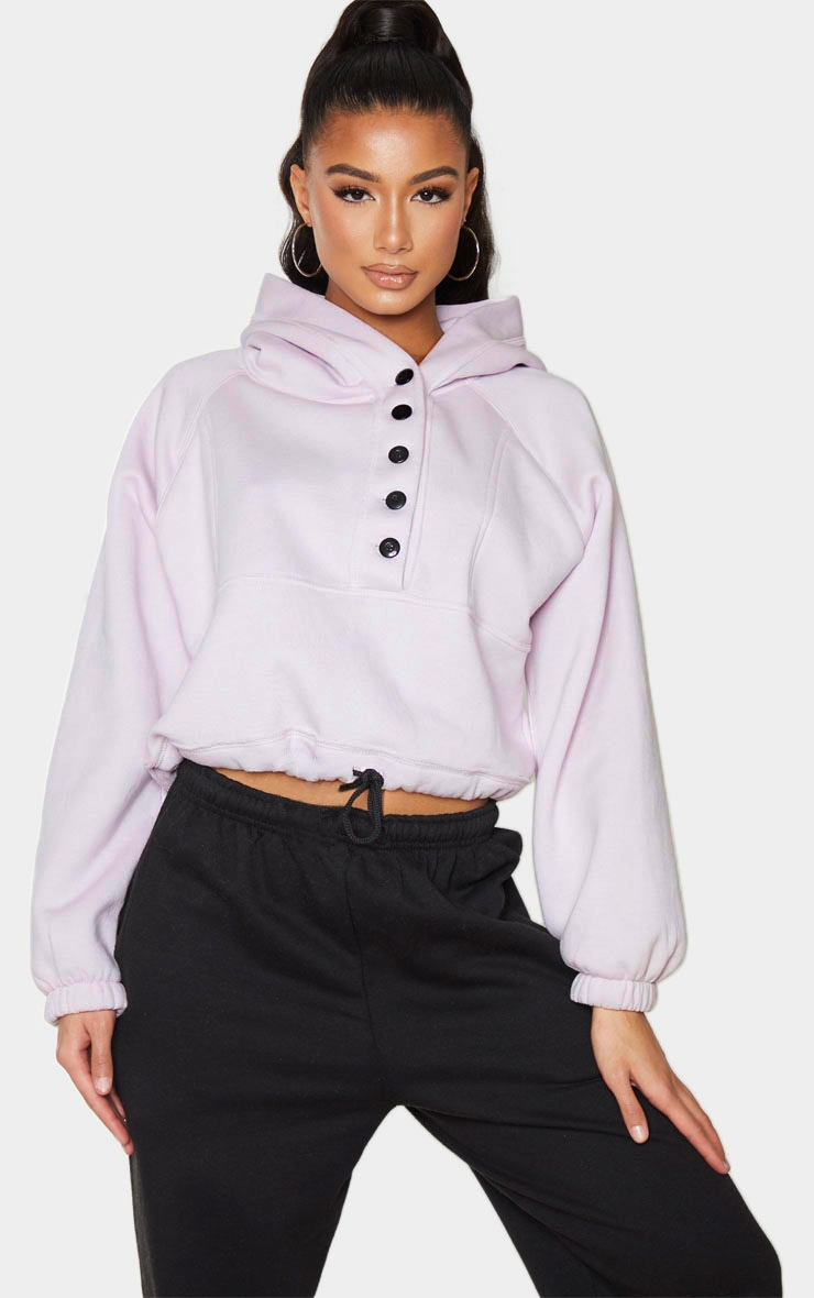 Lilac Button Front Oversized Hoodie 1