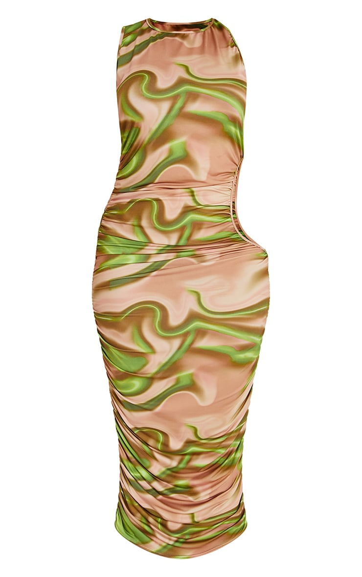 Plus Green Printed Ruched Cut Out Midi Dress 5