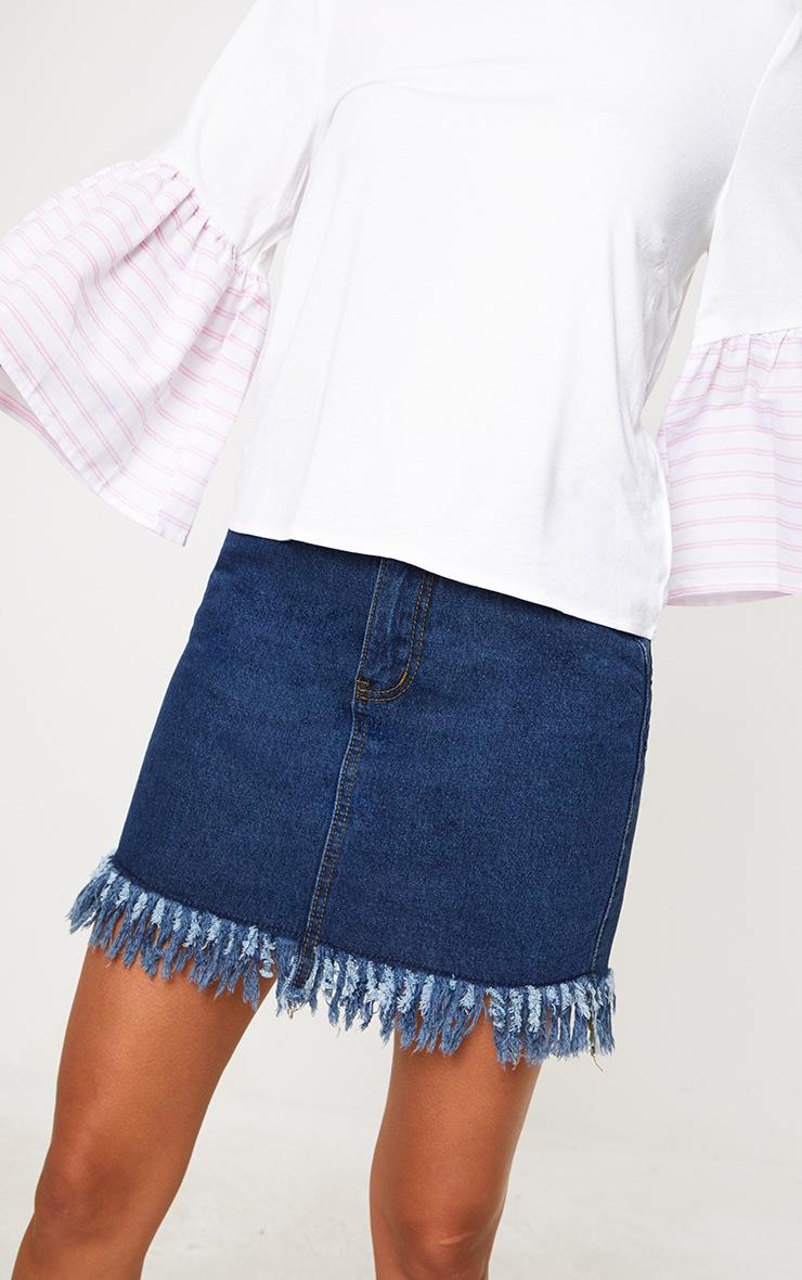Cream Stripe Frill Sleeve Jersey T Shirt 4