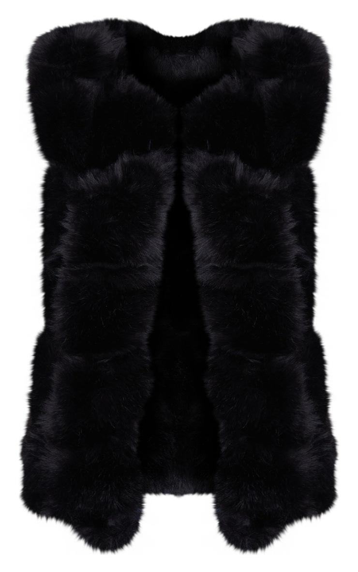 Black Faux Fur Longline Gilet 3