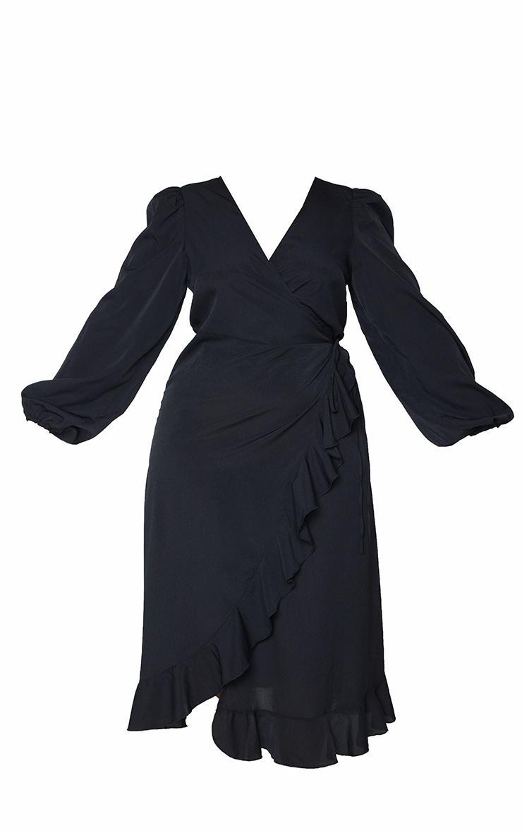 Plus Black Ruffle Wrap Front Midi Dress 5