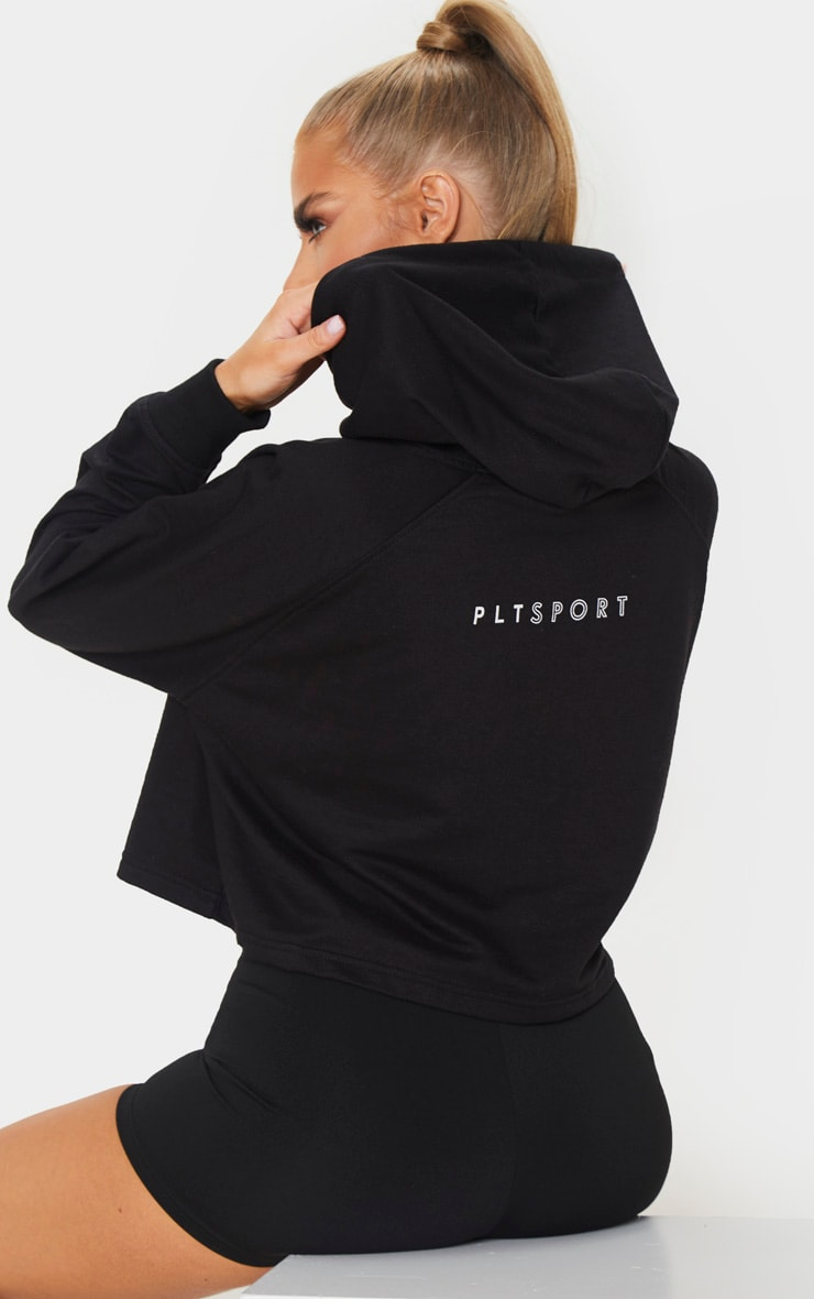 PRETTYLITTLETHING Black Soft Zip Up Gym Sweat 1