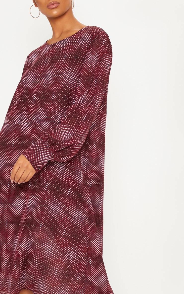 Burgundy Geometric Printed Midi Shift Dress 5