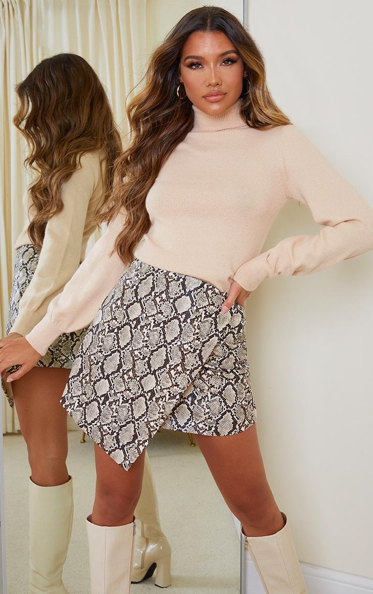Stone Snake Print Faux Leather Wrap Mini Skirt 1