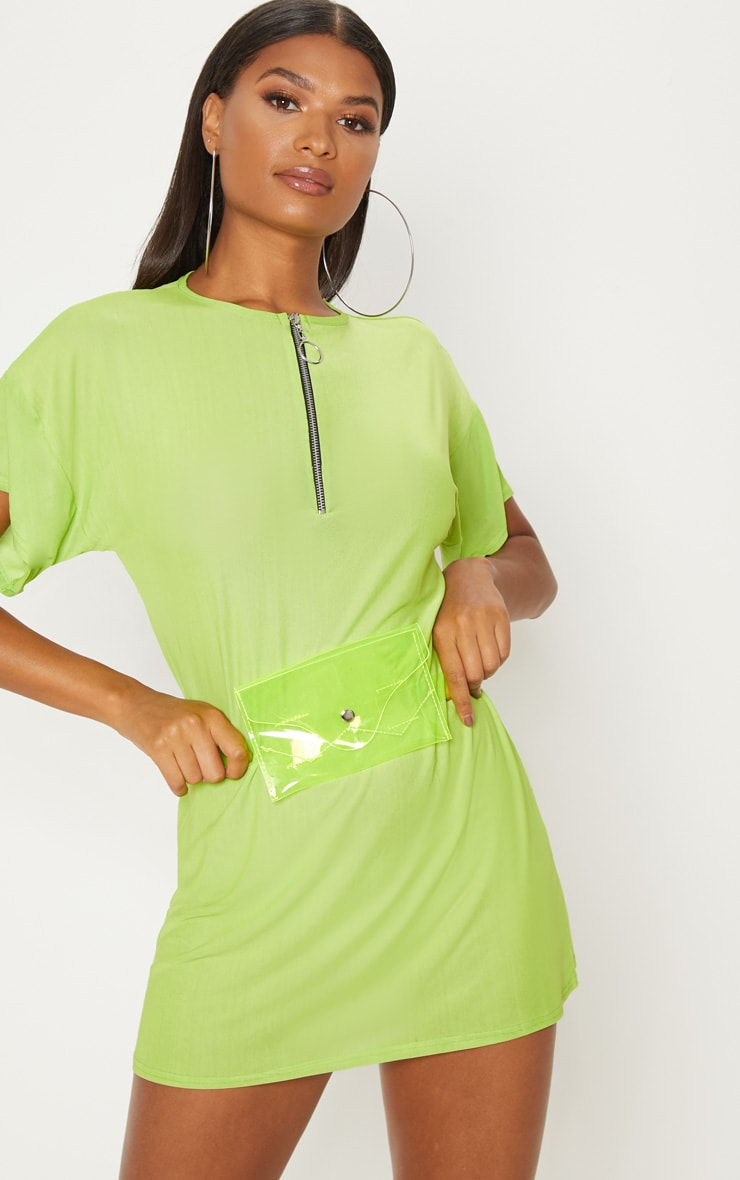 Lime Mesh Zip Front T Shirt Dress 1