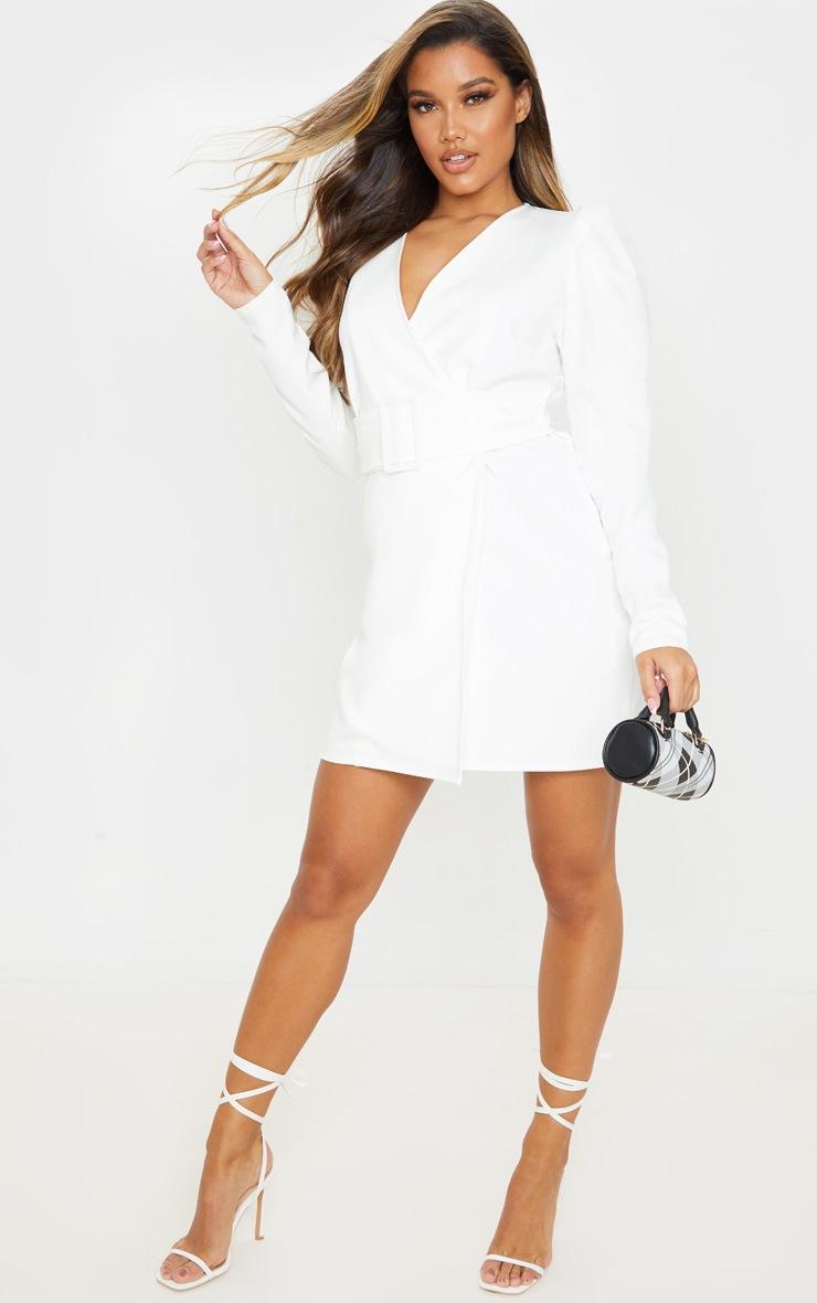 White Puff Sleeve Blazer Dress 4