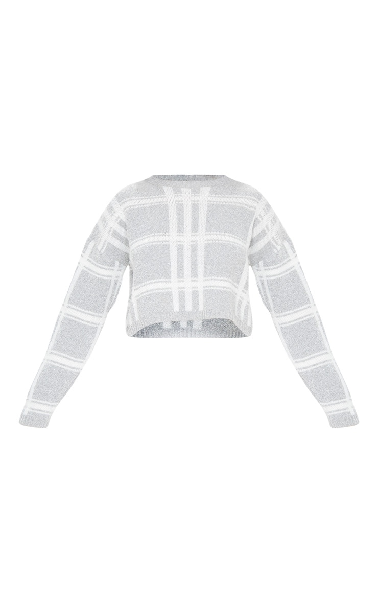 Grey Check Boucle Cropped Jumper 3