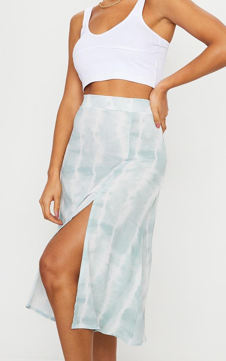 Teal Tie Dye Floaty Midi Skirt 4