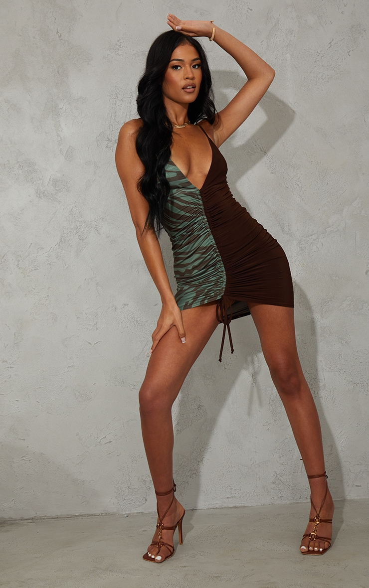 Tall  Olive  Zebra Contrast Slinky Ruched Strappy Mini Dress 3