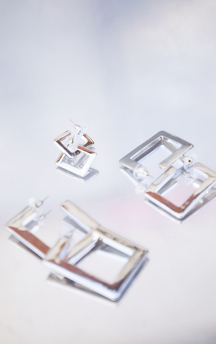 Silver 3 Pack Square Hoop Earrings 3