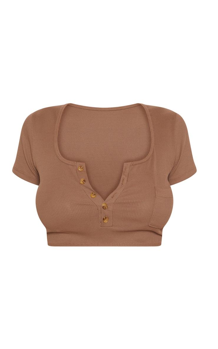 Haut de maillot de bain manches courtes marron chocolat à boutons 4
