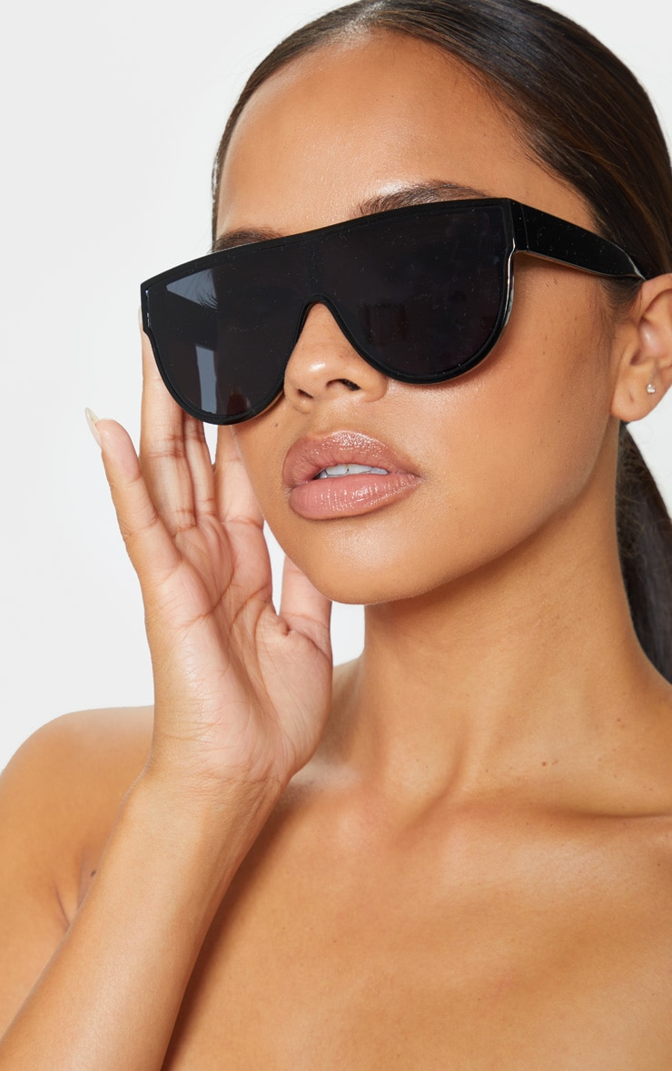 Black Tinted Oversized Flat Top Sunglasses 1
