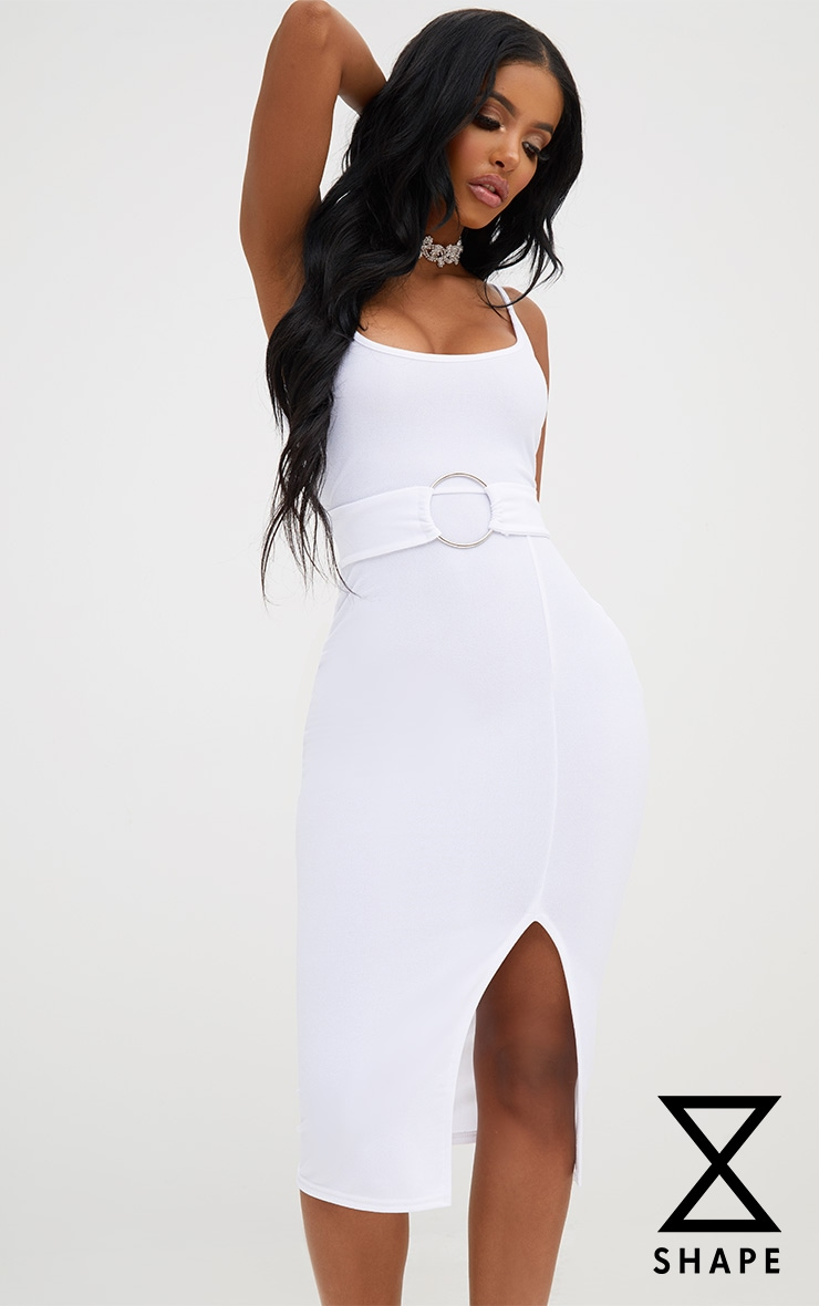 Shape White Front Split O-Ring Midi Dress 1