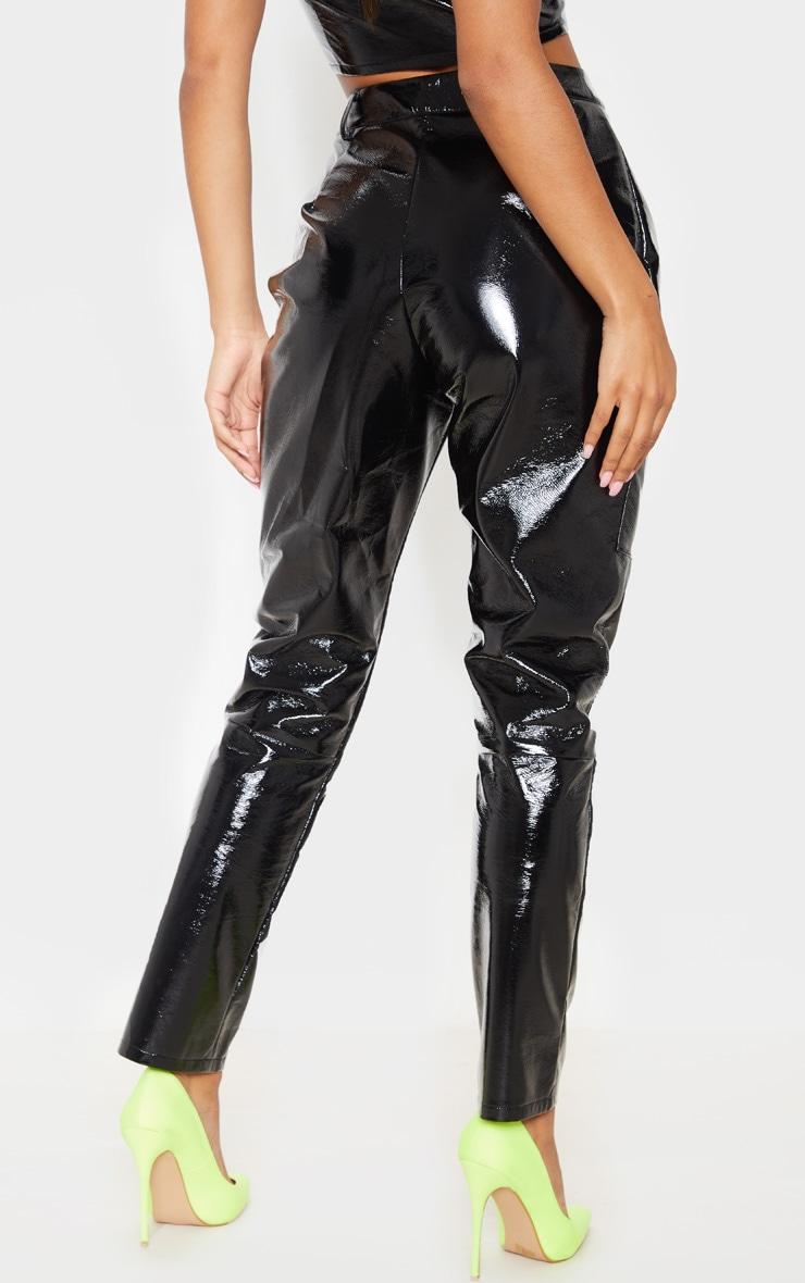 Pantalon droit en similicuir noir à poches et zip 4
