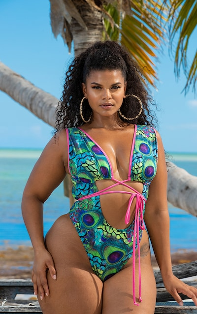 7029b29666 Plus Multi Peacock Print Cut Out Wrap Around Swimsuit PrettyLittleThing  Sticker