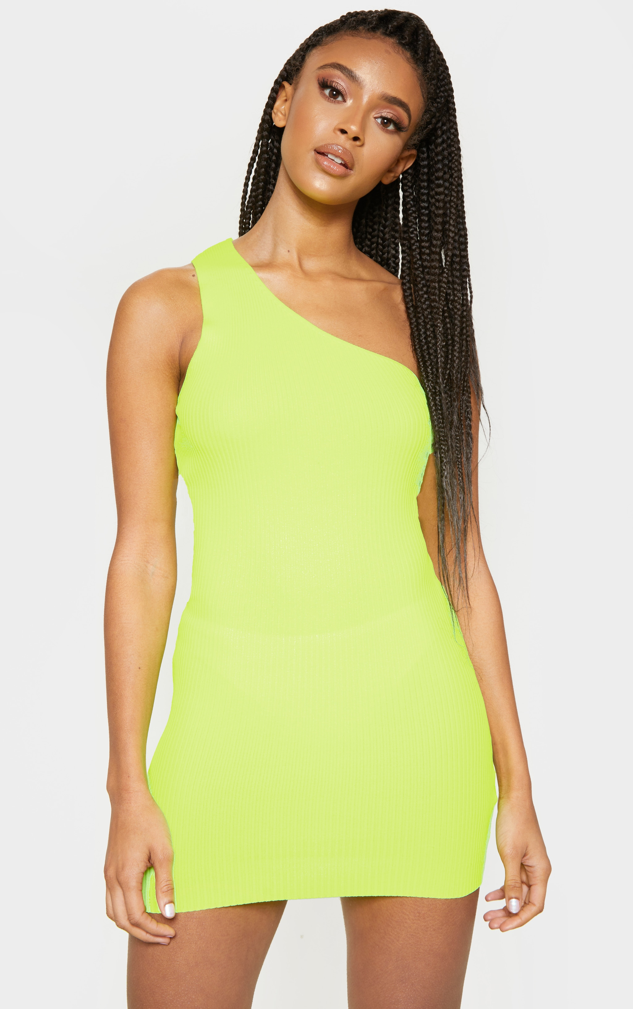 Neon Yellow Asymmetric Ribbed Knit Dress  1