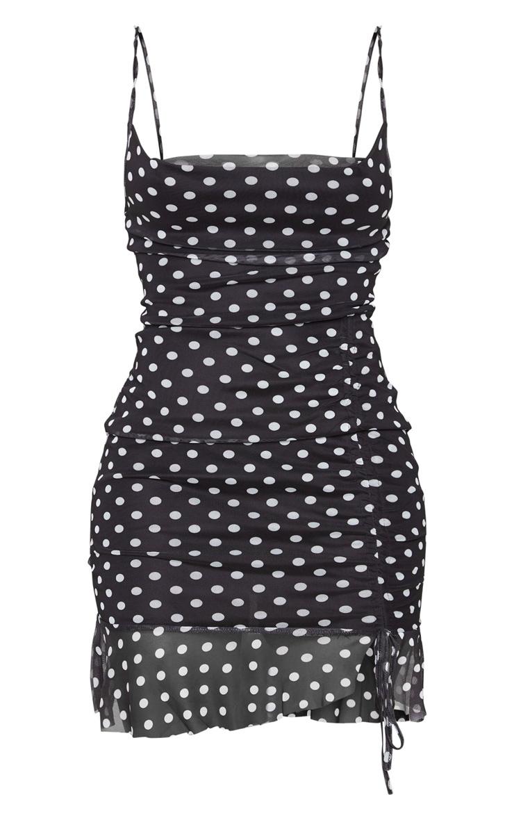 Black Mesh Polka Dot Ruched Bodycon Dress 6