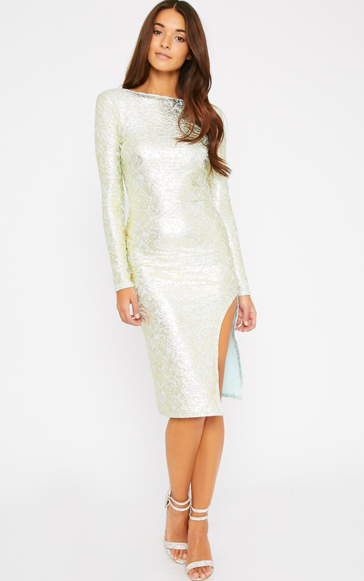 Moxie Mint Gold Foil Split Midi Dress 4