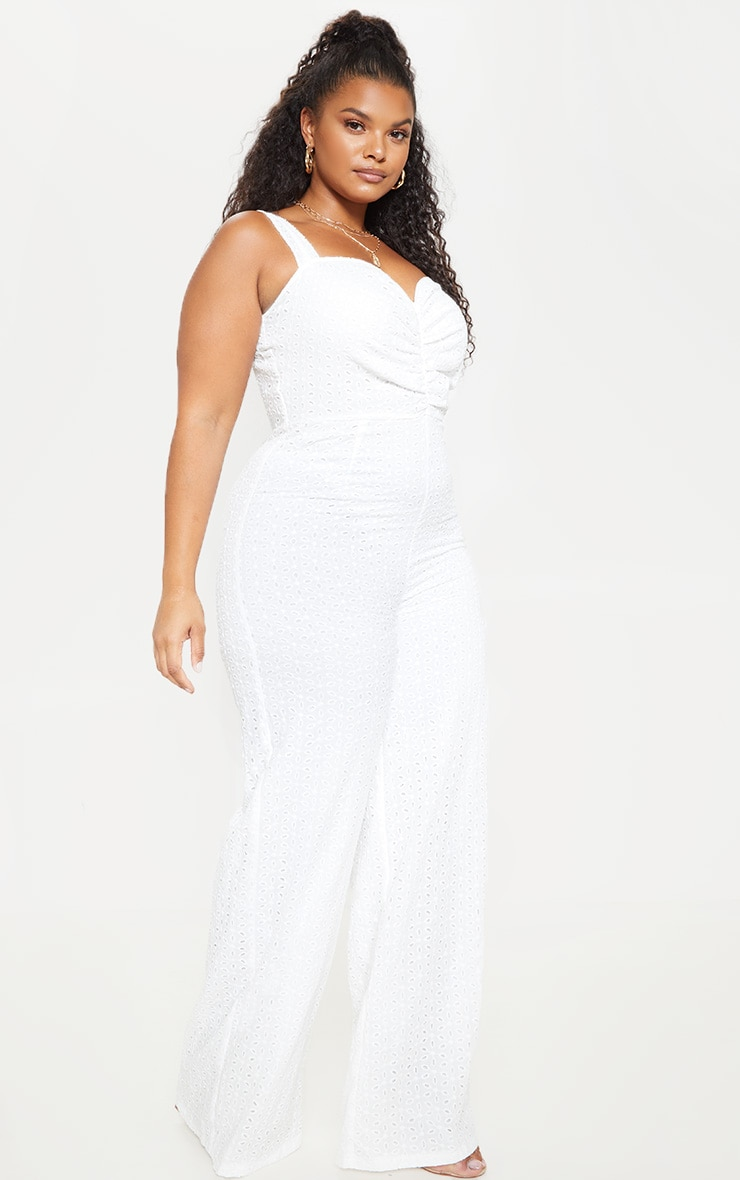 Plus White Broderie Anglaise Wide Leg Jumpsuit 4