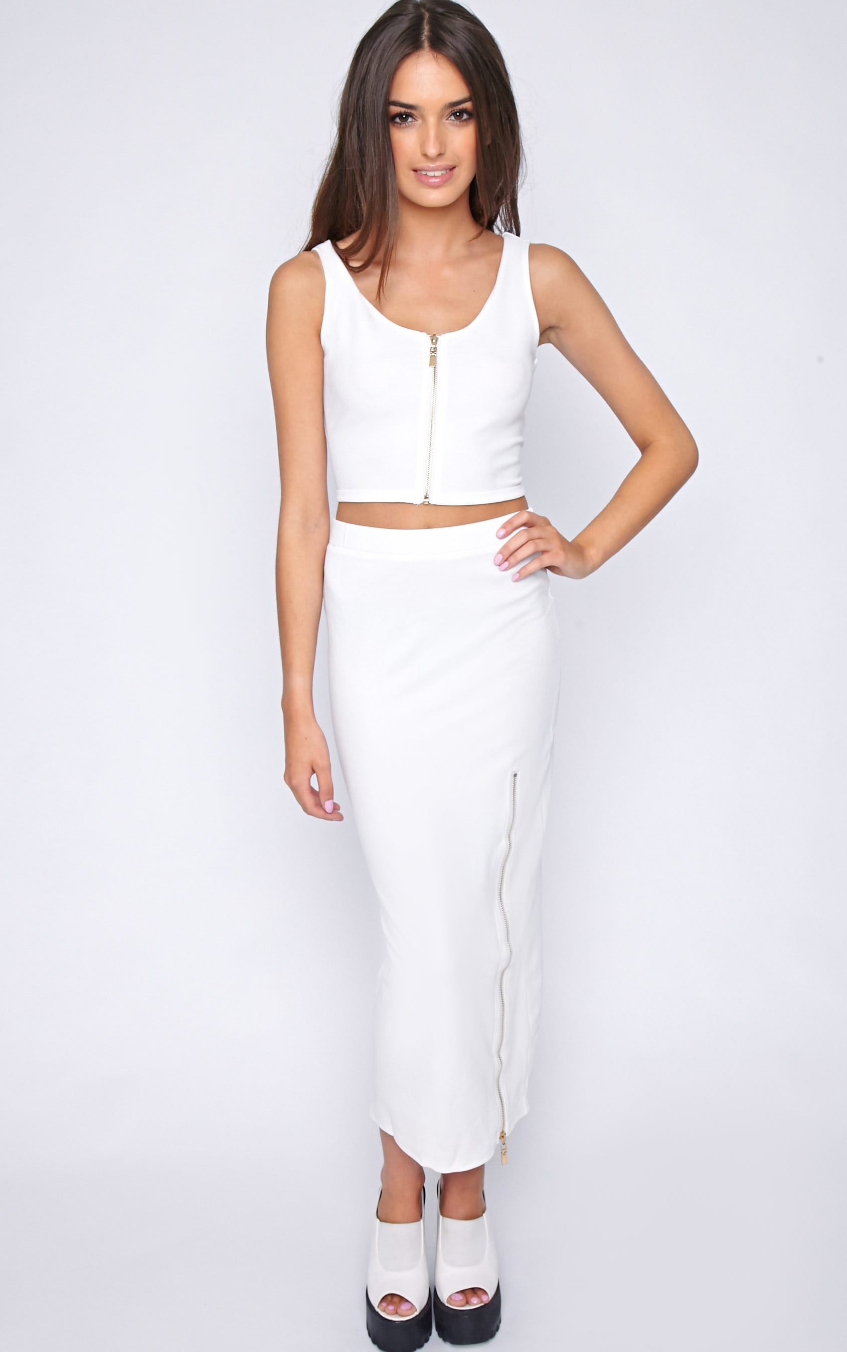 Kadence White Zip Front Crop  4