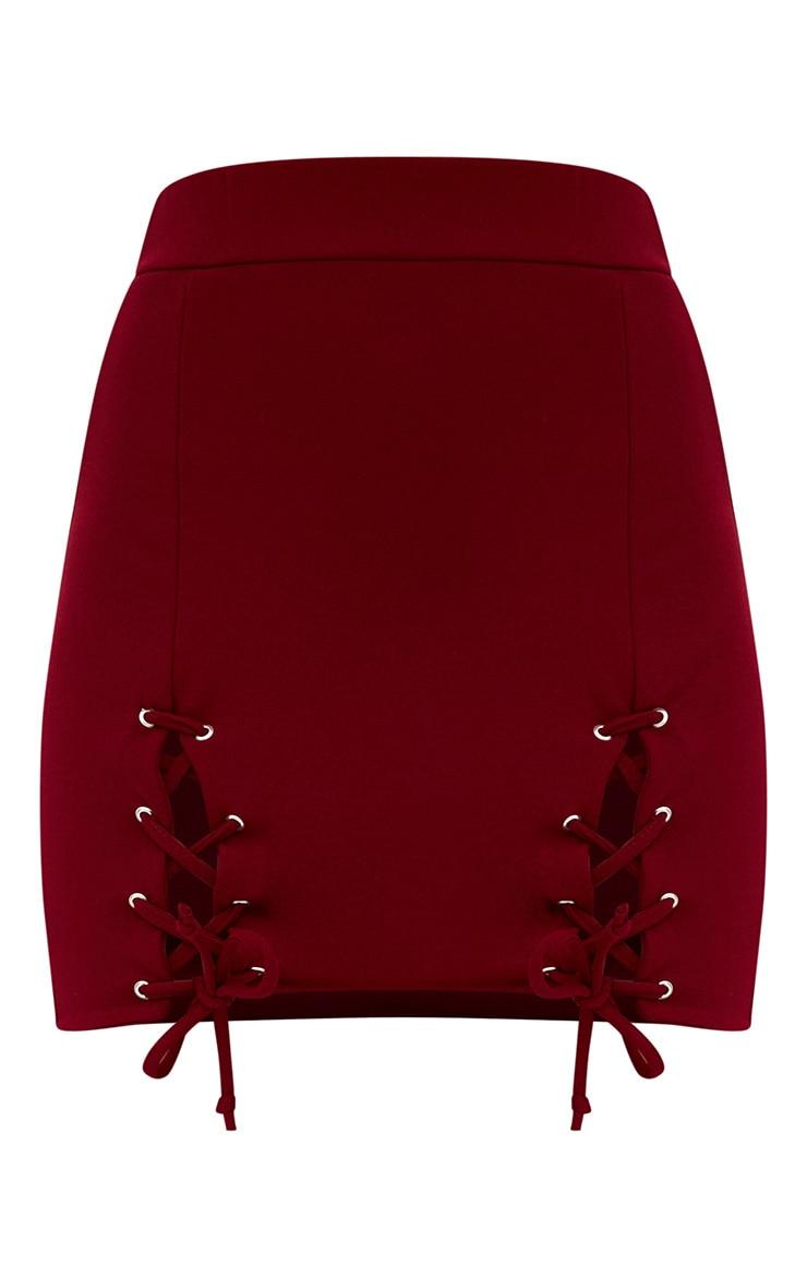 Burgundy Double Split Lace Up Mini Skirt 3