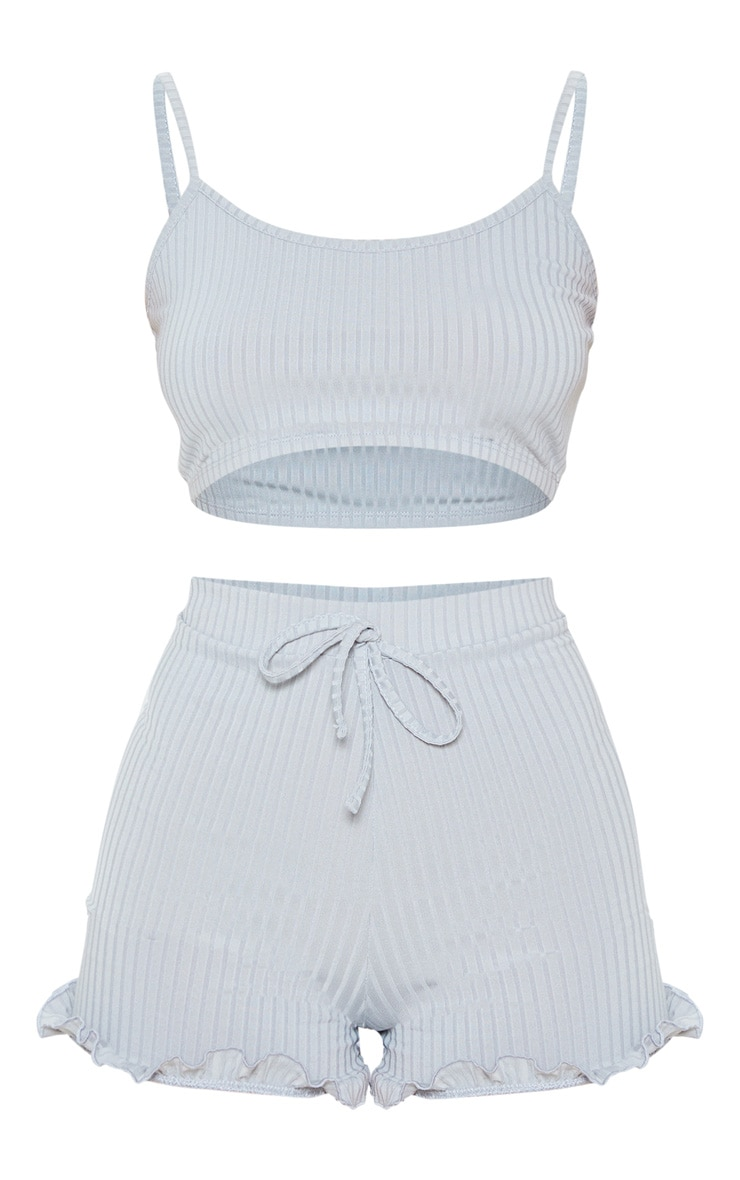Light Grey Crop Cami And Frill Short Rib Pj Set 3