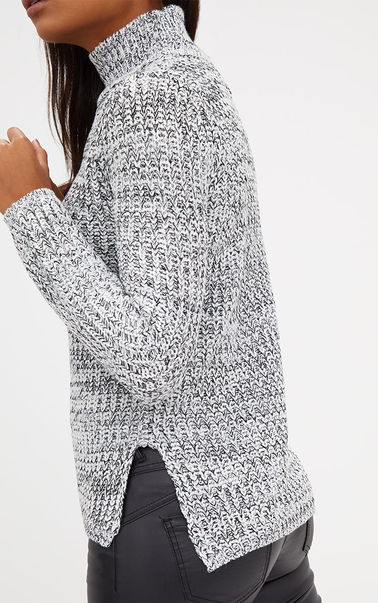 Grey Roll Neck Step Hem Jumper 5