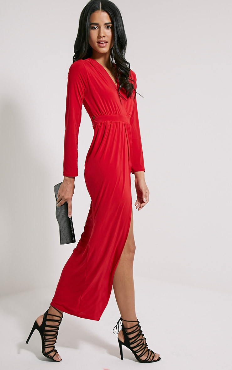Bex Red Cut Out Maxi Dress 3